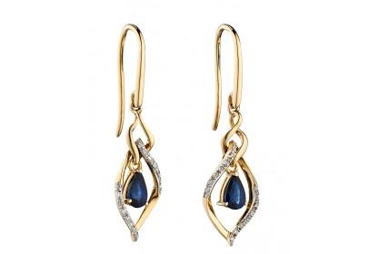 9ct Yellow Gold Sapphire & Diamond Marquise Earrings