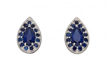 9ct White Gold Sapphire Teardrop Earrings