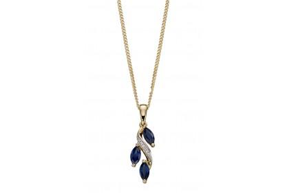 9ct Yellow Gold Sapphire & Diamond Drop Necklace