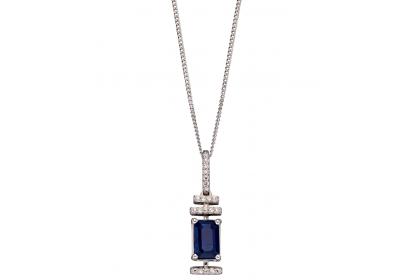 9ct White Gold Sapphire & Diamond Deco Necklace