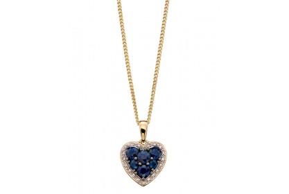 9ct Yellow Gold Sapphire & Diamond Heart Necklace