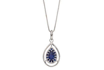 9ct White Gold Sapphire Teardrop Necklace