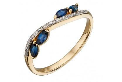 9ct Yellow Gold Sapphire & Diamond Marquise Ring
