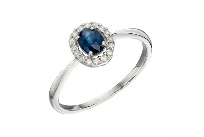 9ct White Gold Sapphire & Diamond Ring