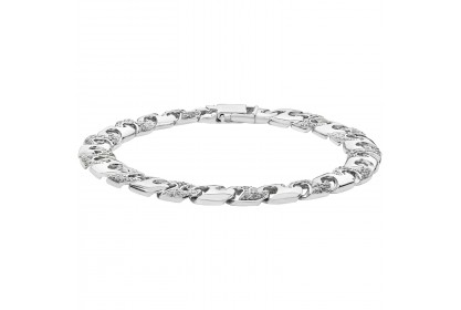 Sterling Silver Mens CZ Set Cast Bracelet