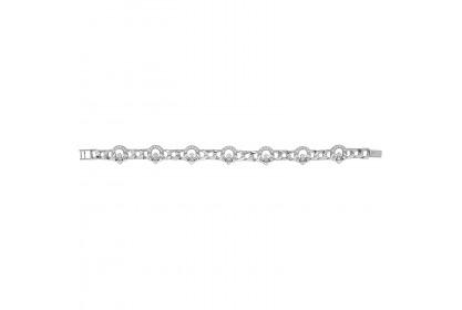 Sterling Silver Ladies CZ Set Claddagh Bracelet