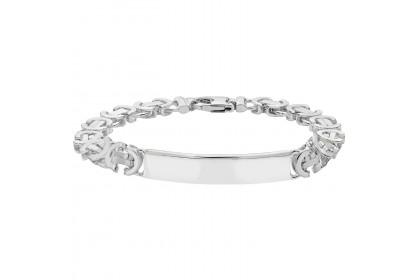 Sterling Silver Mens Byzantine ID Bracelet