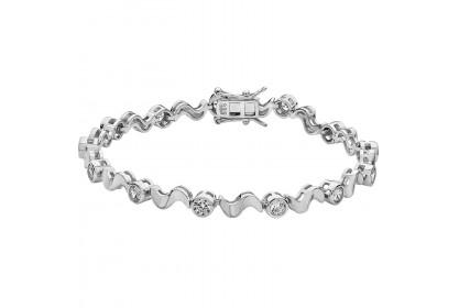 Sterling Silver CZ Set Twist Bracelet