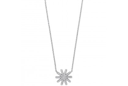 Sterling Silver CZ Snowflake Necklace