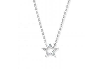 Sterling Silver CZ Set Star Necklace