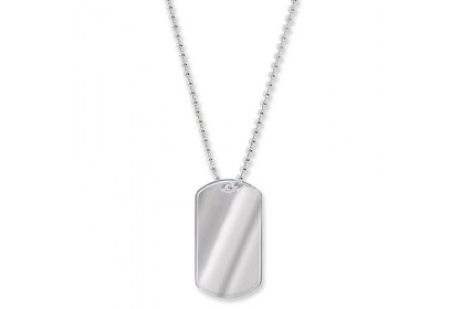 Sterling Silver Single Dog Tag Necklace