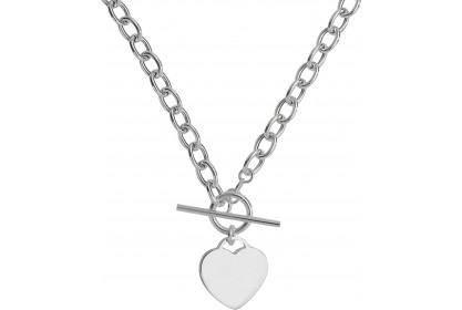 Sterling Silver T-Bar Heart Necklace