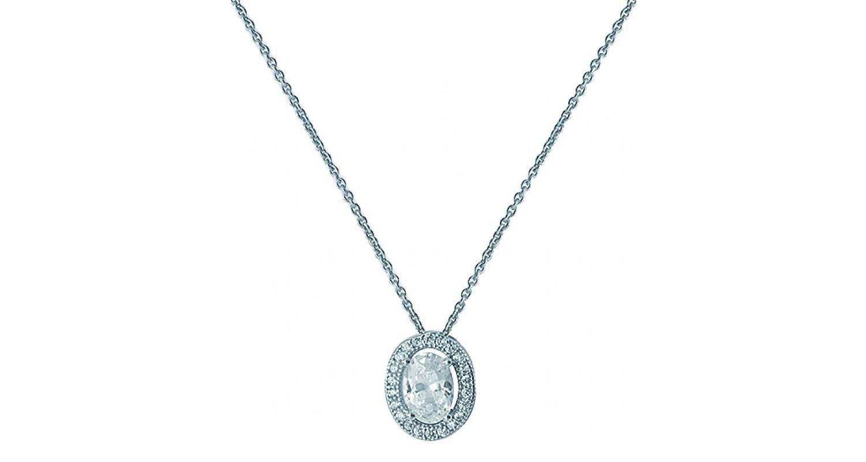Sterling Silver Oval Shape CZ Necklace