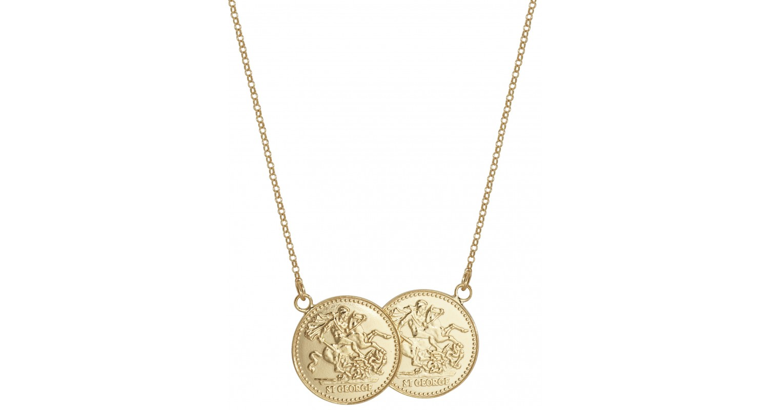 Sterling Silver Gold Plated Double Sovereign Style Necklace