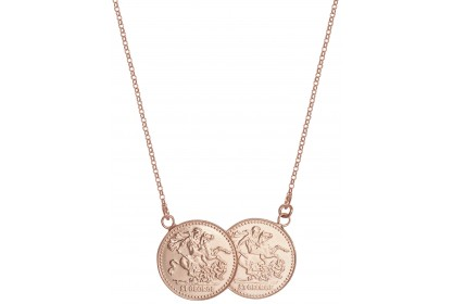 Sterling Silver Rose Gold Plated Double Sovereign Style Necklace