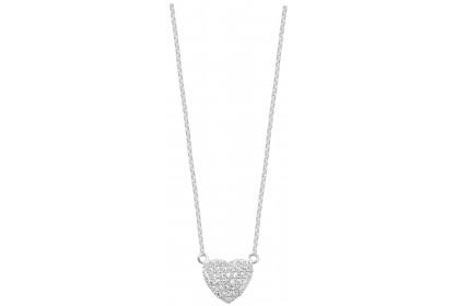 Sterling Silver Pave Set CZ Heart Necklace