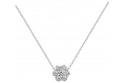 Sterling Silver Pave Set CZ Snowflake Necklace