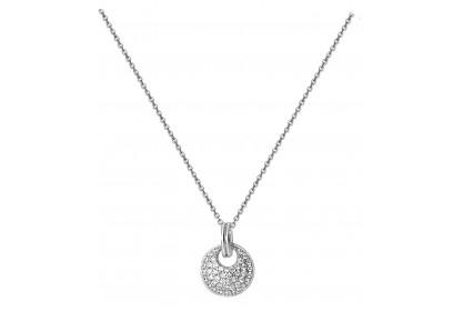 Sterling Silver Pave Set CZ Disc Necklace