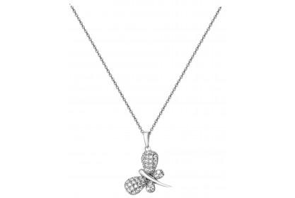 Sterling Silver Pave Set CZ Butterfly Necklace