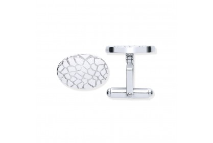 Sterling Silver Crocodile Patterned Oval Cufflinks