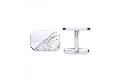 Sterling Silver Half-patterned Cufflinks