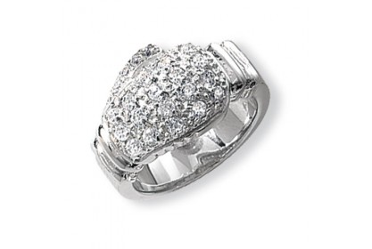 Sterling Silver Mens Boxing Glove CZ Ring