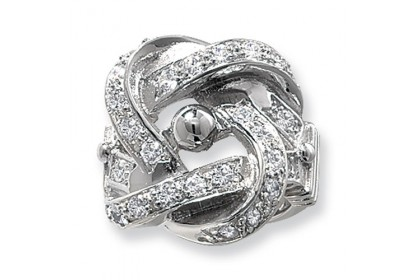 Sterling Silver Mens Heavyweight CZ Knot Ring