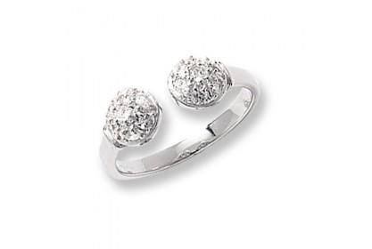 Sterling Silver Ladies CZ Set Torque Ring