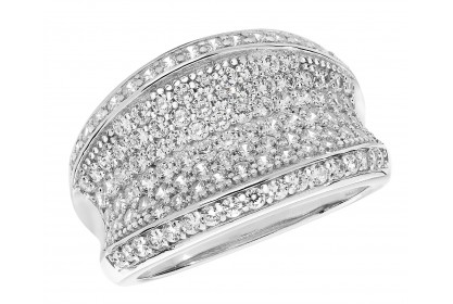 Sterling Silver CZ Concave Dress Ring