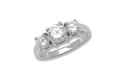 Sterling Silver CZ Trilogy Ring