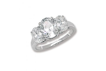 Sterling Silver CZ Oval Trilogy Ring