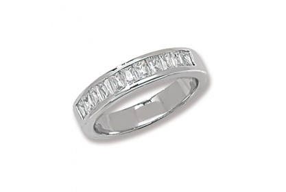 Sterling Silver Baguette CZ Eternity Ring