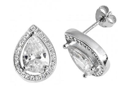 Sterling Silver Pear Shaped Cubic Zirconia Stud Earrings