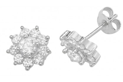 Sterling Silver Cubic Zirconia Cluster Stud Earrings
