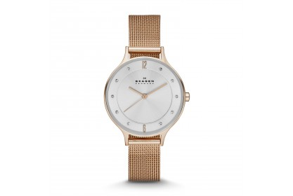 Skagen Anita Rose Gold Tone Steel Mesh Watch