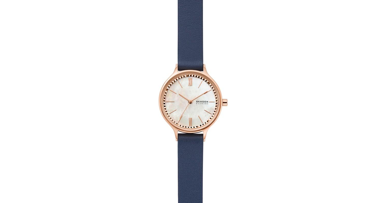 Skagen Anita Three Hand Blue Leather Watch