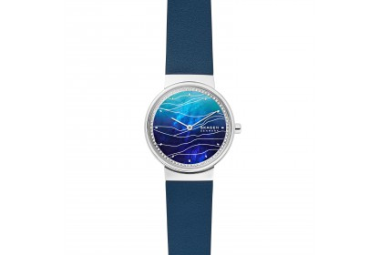 Skagen Annelie Two Hand Blue Leather Watch