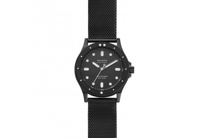Skagen Fisk Three Hand Black Steel Mesh Watch