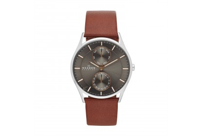 Skagen Holst Brown Leather Multifunction Watch