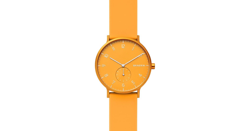 Skagen Aaren Kulor Yellow Silicone 41mm Watch