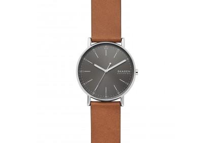 Skagen Signatur Three-Hand Brown Leather Watch