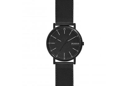 Skagen Signatur Three Hand Black Steel Mesh Watch