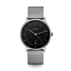 Sternglas Naos Black Mesh Date Automatic Watch