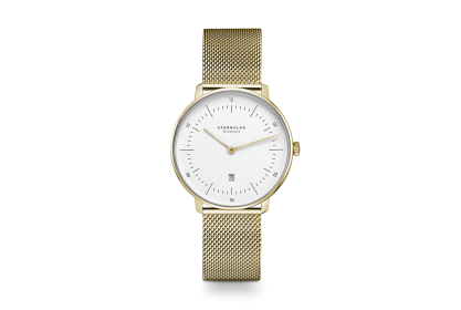 Sternglas Naos XS Gold Mesh Date Watch