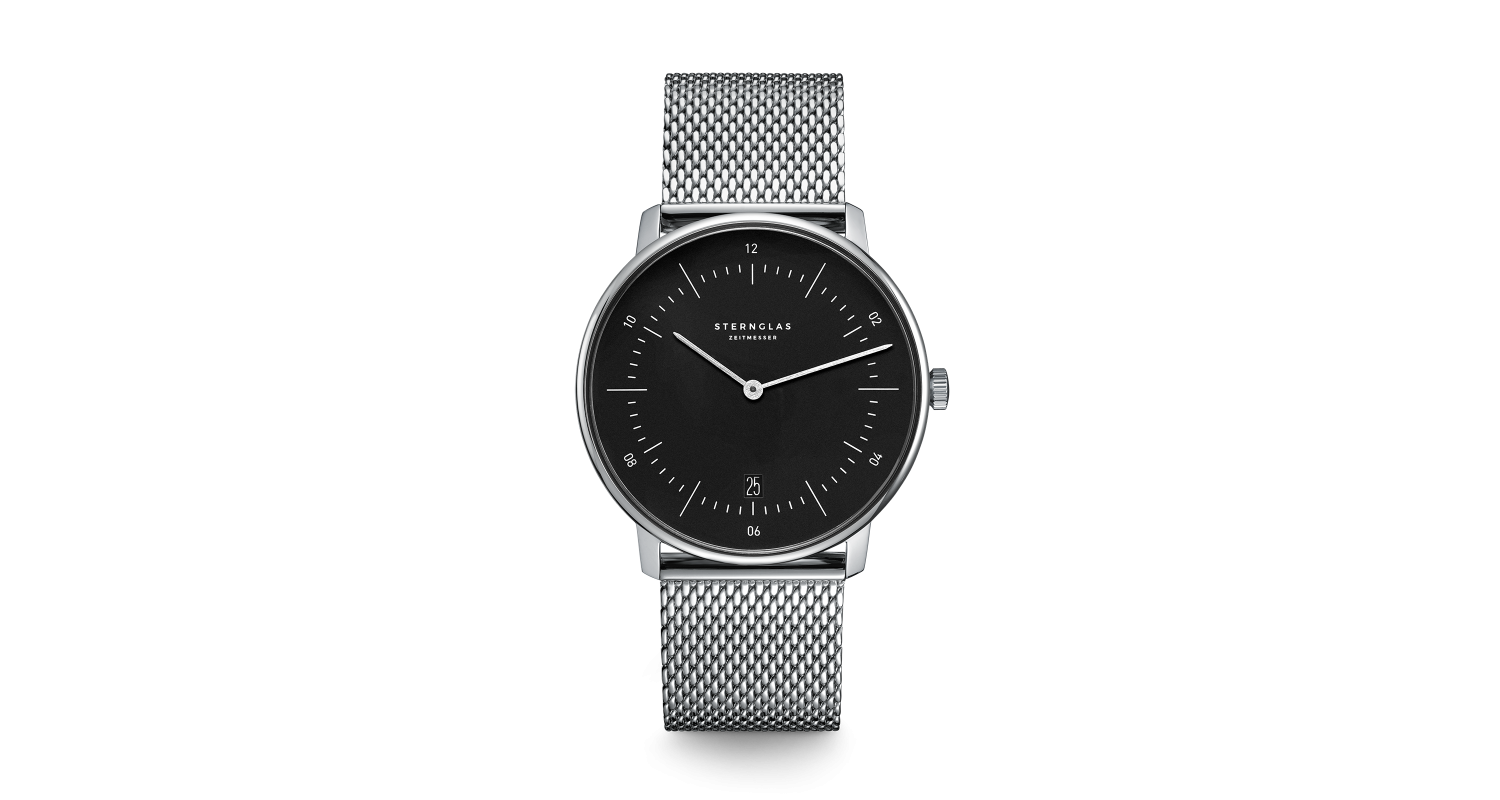 Sternglas Naos Black Mesh Watch