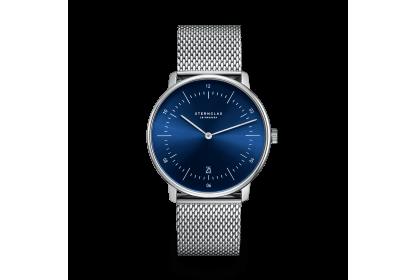 Sternglas Naos Sunburst Blue Mesh Watch