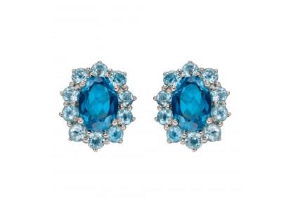 9ct White Gold Blue Topaz Cluster Earrings