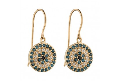 9ct Yellow Gold Topaz & Black Spinel Earrings