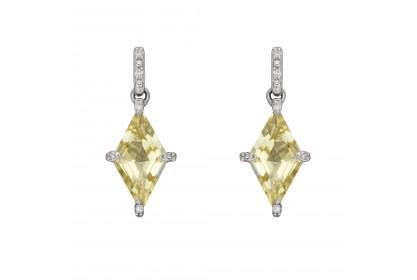 9ct White Gold Lemon Quartz & Diamond Earrings