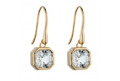9ct Yellow Gold White Topaz Earrings